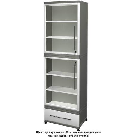 Шкаф для хранения с ящиком Есо (двери металл-стекло)