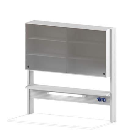 Технологический стеллаж со шкафом 750 мм для пристенного стола Mod. -1500 ТСПШ-75