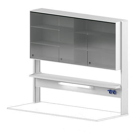 Технологический стеллаж со шкафом 750 мм для пристенного стола Mod. -1800 ТСПШ-75