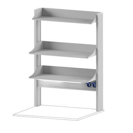 Технологический стеллаж для приборов высокий для пристенного стола Mod. -900 ТСПРв