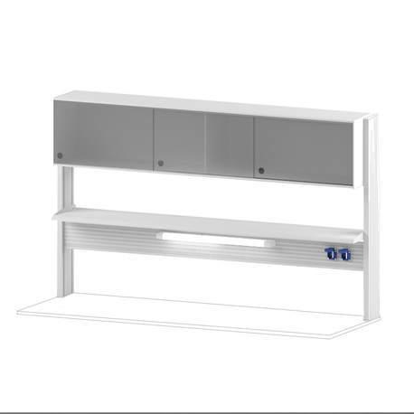 Технологический стеллаж со шкафом 360 мм для пристенного стола Mod. -1800 ТСПШ-36