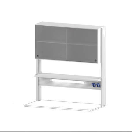 Технологический стеллаж со шкафом 600 мм для пристенного стола Mod. -1200 ТСПШ-60
