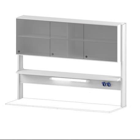 Технологический стеллаж со шкафом 600 мм для пристенного стола Mod. -1800 ТСПШ-60