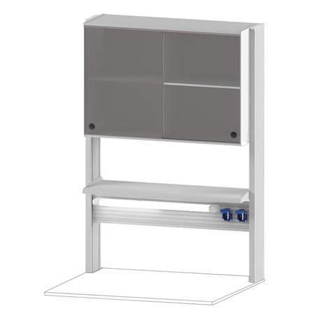 Технологический стеллаж со шкафом 600 мм для пристенного стола Mod. -900 ТСПШ-60