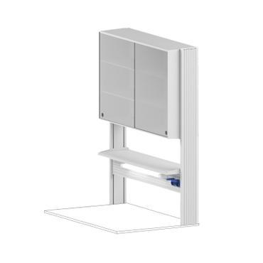 Технологический стеллаж со шкафом 750 мм для пристенного стола Mod. -1200 ТСПШ-75