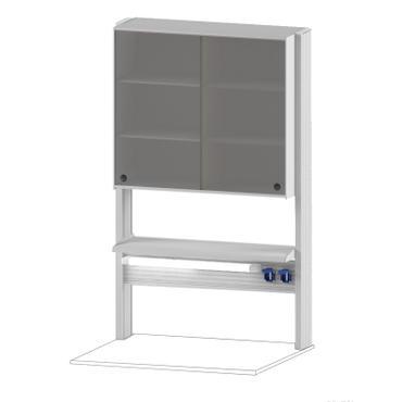 Технологический стеллаж со шкафом 750 мм для пристенного стола Mod. -900 ТСПШ-75