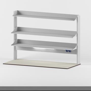 Технологический стеллаж для приборов высокий для пристенного стола Mod. -1800 ТСПРв