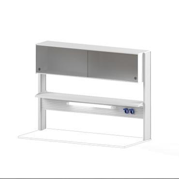 Технологический стеллаж со шкафом 360 мм для пристенного стола Mod. -1500 ТСПШ-36