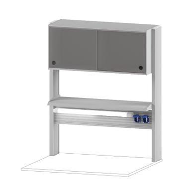 Технологический стеллаж со шкафом 360 мм для пристенного стола Mod. -900 ТСПШ-36
