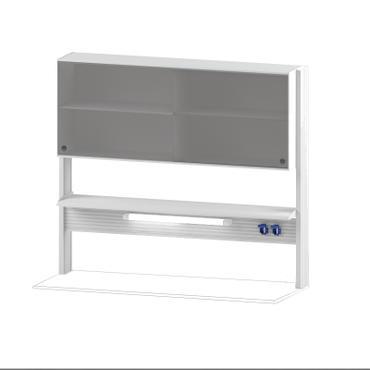 Технологический стеллаж со шкафом 600 мм для пристенного стола Mod. -1500 ТСПШ-60