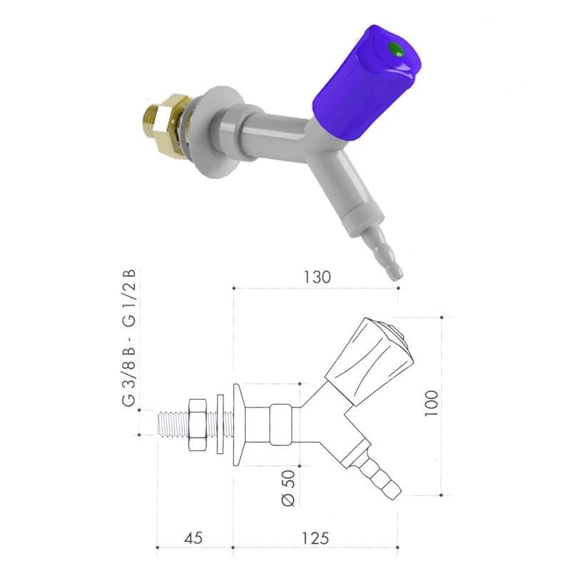Кран для технических газов art3100-136