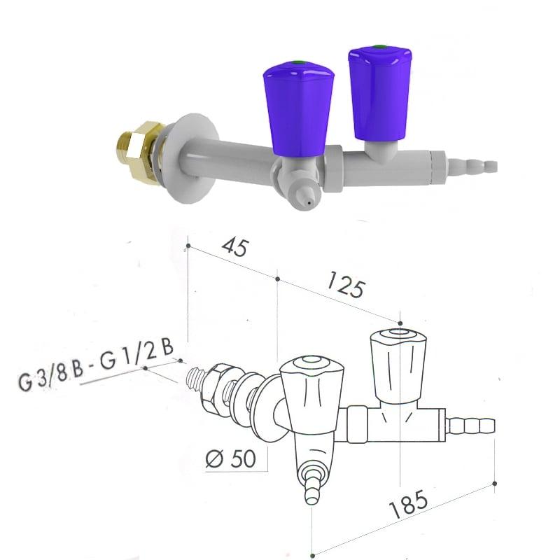 Кран для технических газов art3100-166