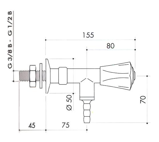 Кран для вакуума для установки в стену art2200-386