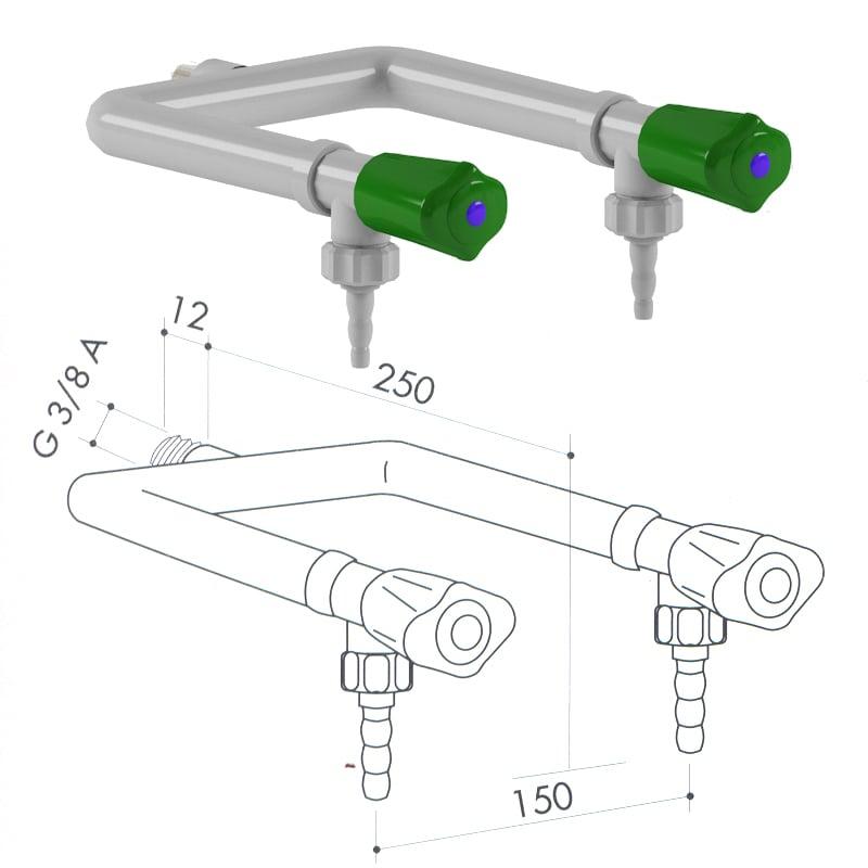 Кран для подвода воды art1000-100 - VC
