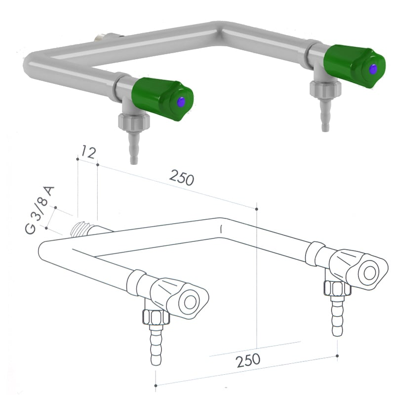 Кран для подвода воды art1000-105 - VC