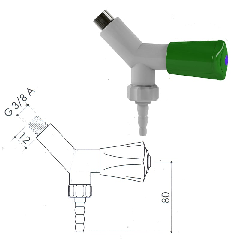 Кран для подвода воды art1000-30 - VC