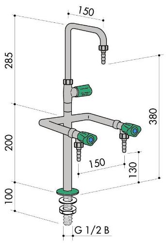 Кран вертикальный с тремя выпусками (2+1) art1000-486